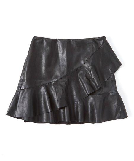 333d4e8e2 Dex Clothing Black Asymmetrical-Ruffle Faux Leather Skirt   Zulily