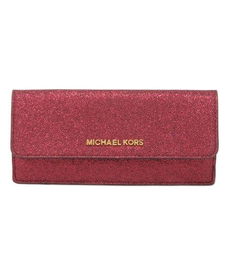 cf2815d3781c5e Michael Kors Cranberry Glitter Leather Wallet | Zulily