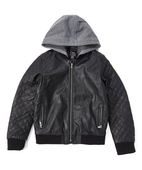 749164e21c78 Dex Clothing Black Faux Leather Zip-Up Hooded Jacket - Boys