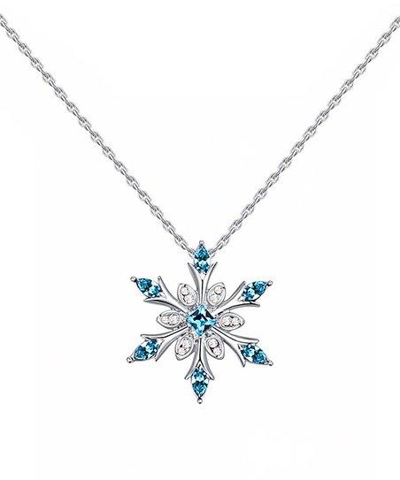 3200b31846 callura Blue Modern Snowflake Pendant Necklace With Swarovski ...