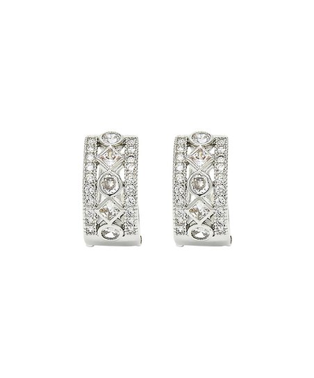 87235d10c55d love this product Silvertone Diamond Shape Huggie Earrings With Swarovski®  Crystals