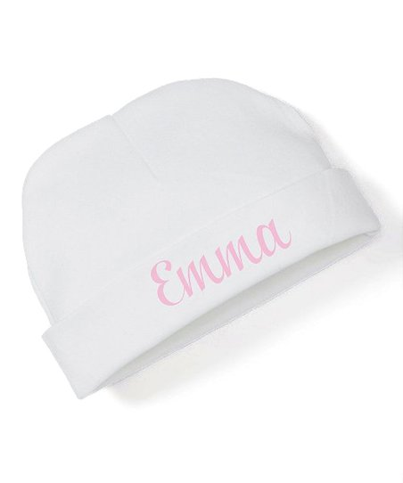 37f88bcd44d3e Initial Request White & Pink Personalized Beanie - Newborn