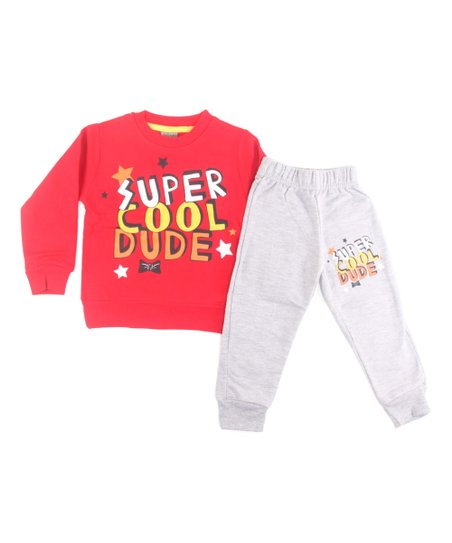 Alya Baby Red Super Cool Dude Sweatshirt Heather Gray Joggers Toddler Boys