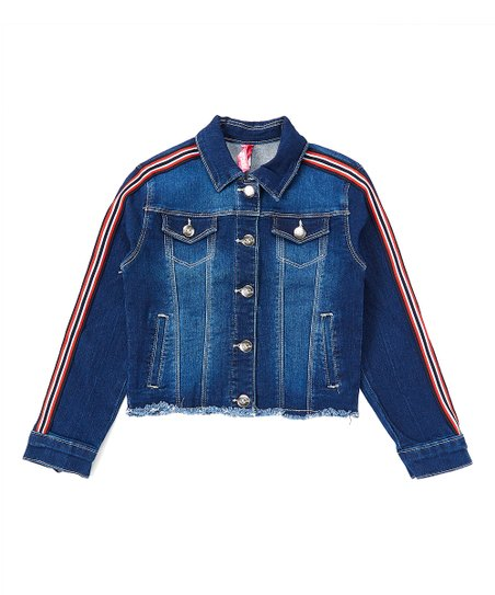 Cutie Patootie Blueberry Racing Stripe Denim Jacket Girls Zulily