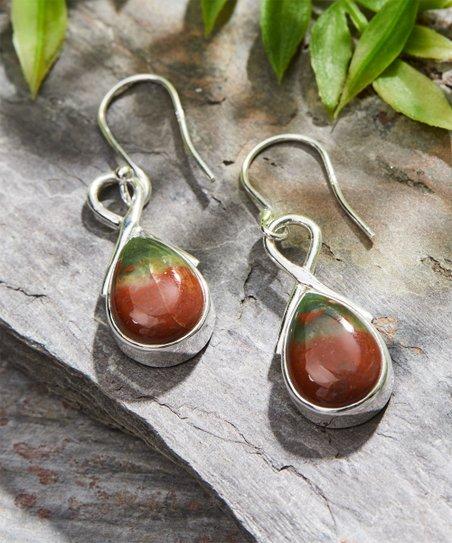 YS Gems Bloodstone & Sterling Silver Teardrop Earrings