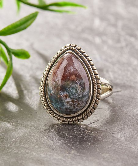 YS Gems Bloodstone & Sterling Silver Teardrop Ring