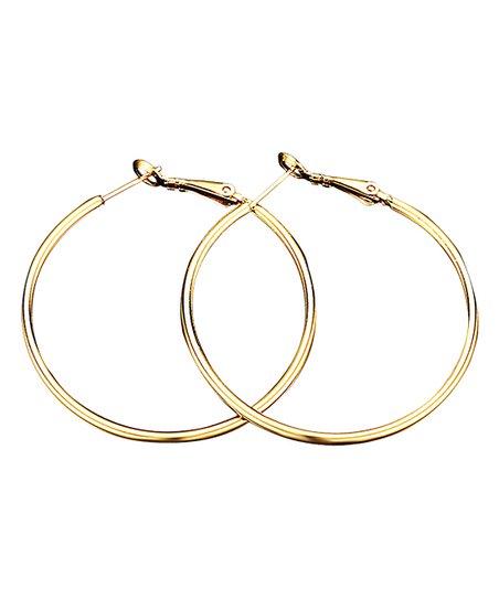 18k Gold Plated 1 5 Hoop Earrings