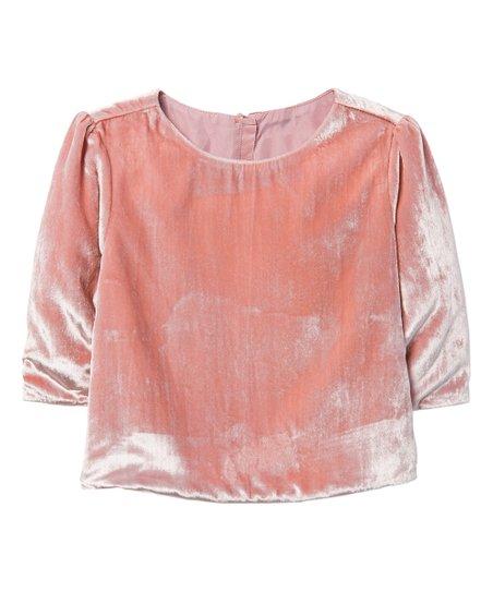 c6fd57532bf547 love this product Petal Pink Velvet Top - Girls