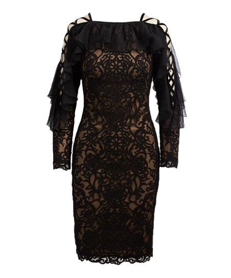 Tadashi Shoji Black Nude Lace Midi Dress Women Zulily