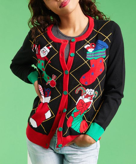 Ugly Christmas Sweater Black Stockings Button Up Sweater Women