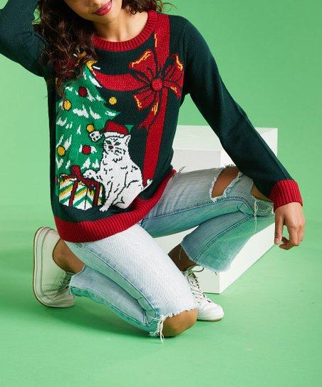 Ugly Christmas Sweater Fir Green Christmas Tree Cat Light Up
