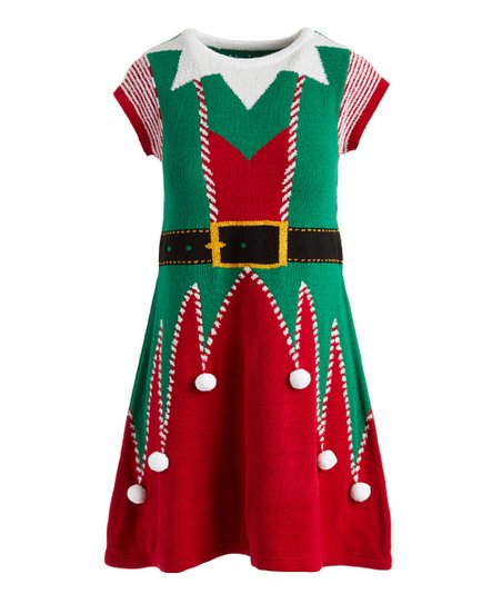Green \u0026 Red Christmas Fitted Sweater Dress , Women