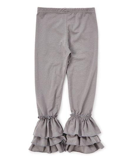 2ecb8d21a32ce Creative Cuties Gray Triple Ruffle Leggings - Toddler & Girls
