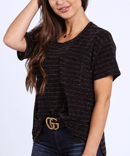 2d7631b3c81c Coco & Main Black Sparkle Pocket Tee - Women | Zulily