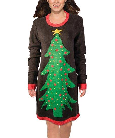 acb0ac45474 Forum Novelties Brown   Red Tree Sweater Dress - Women