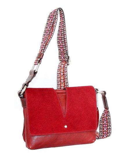 Red Valentina Leather Crossbody Bag