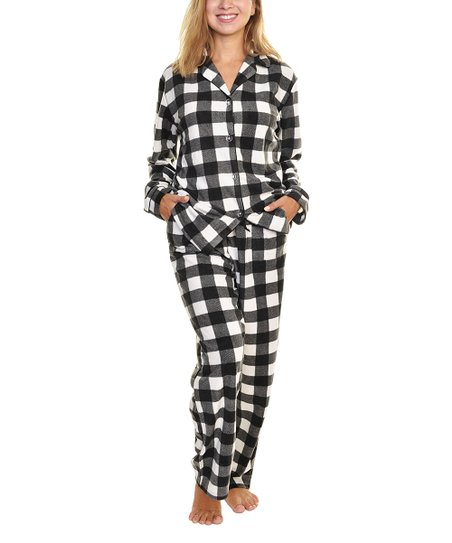 d34b9a1a26 love this product Black   White Plaid Fleece Pajama Set - Women   Plus