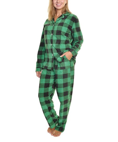 4a1a3c2ab6 Angelina Green Plaid Fleece Pajama Set - Women
