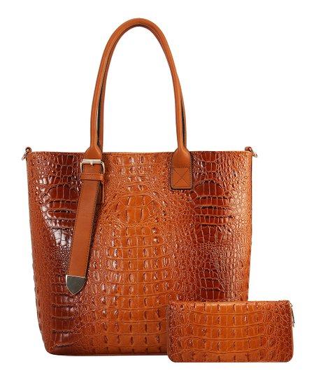 Brown Diophy Croc-Embossed Shoulder Bag & Wallet