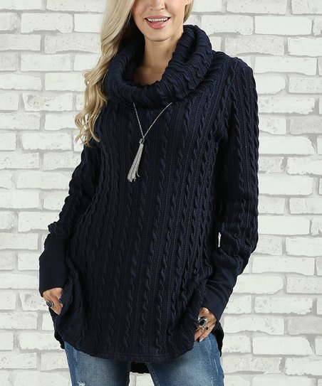 12644f172 Suzanne Betro Navy Cable Knit Cowl Neck Sweater - Women