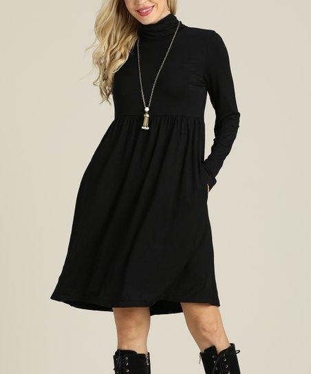 Suzanne Betro Dresses Black Turtleneck Empire-Waist Dress - Plus