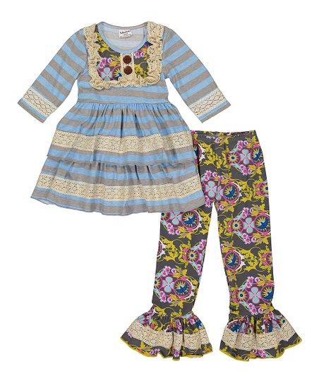 3ed98a4f6fd204 Blue Stripe Lace-Embellished Peplum Top & Paisley Ruffle Leggings - Girls