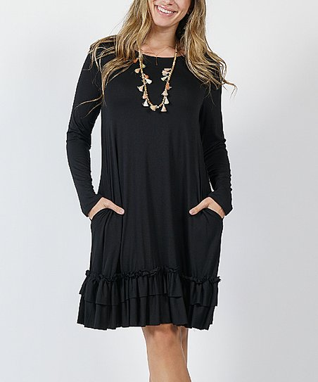 260a30acda8 love this product Black Long-Sleeve Ruffle-Hem Shift Dress - Plus