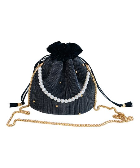 1e0a871cbc78 SutaSuta Black Beaded-Stripe Velvet Bucket Bag