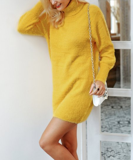 dfd5831568a1 love this product Yellow Turtleneck Sweater Dress - Women