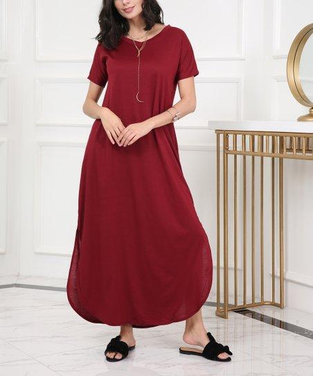 4fac21f50a7 love this product Wine Red Split-Hem Maxi Dress - Women   Plus