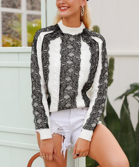 love this product White   Black Lace-Knit Pullover Sweater - Women 54b70ec67