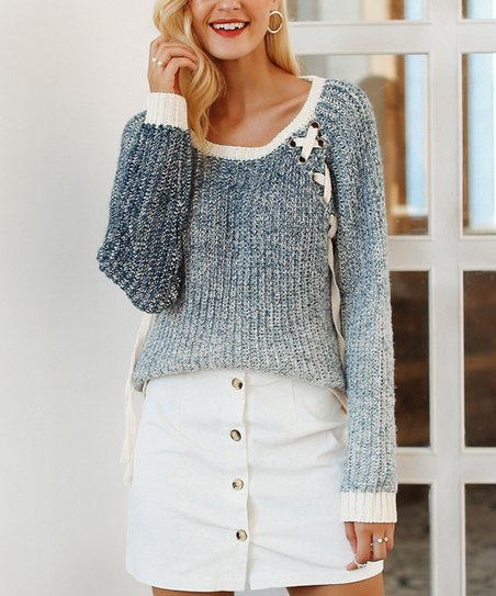cf09070abac love this product Blue   Beige Lace-Up Sweater