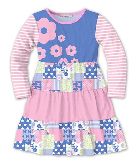b15ec7451a Sunshine Swing Blue   Pink Floral Tiered Dress - Toddler   Girls ...