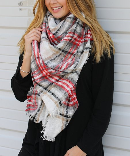 759a6502d8d3b Funky Monkey Red & White Plaid Blanket Scarf - Womens Short | Zulily