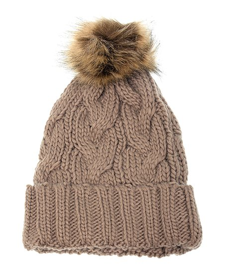 d3f452c5182 love this product Khaki Cable Knit Pom-Pom Beanie
