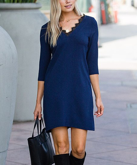 b1162e6aa01 love this product Navy Lace-Trim Shift Dress - Plus