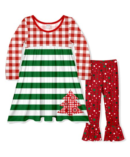 d4f2fb776 Penelope Plumm Red Gingham   Green Stripe Babydoll Dress   Red Dot ...
