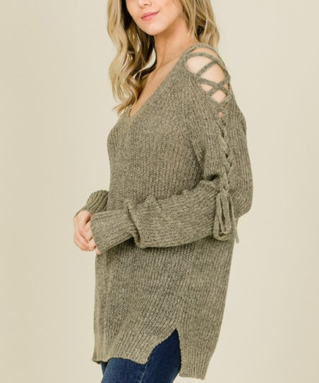 love this product Stone Lace Up-Shoulder Pullover Sweater - Women 5d6ade6b6