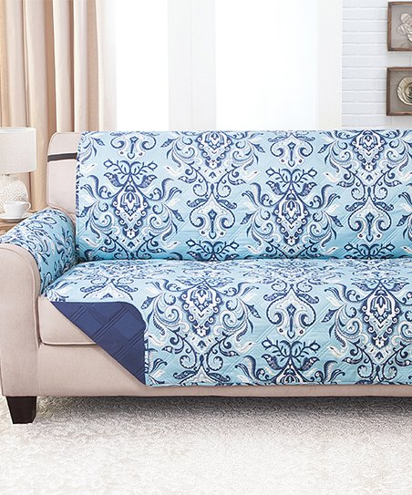 Couch Guard Blue Damask Reversible Furniture Protector