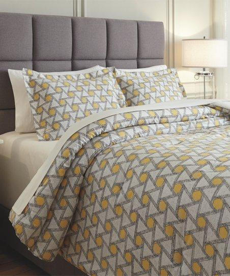 Yellow Black Clio Comforter Set