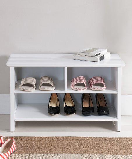 Pilaster Designs White Three Compartment Shoe Storage Bench Zulily