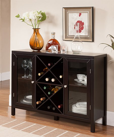 Pilaster Designs Breakfront Wood Wine Rack Console Table