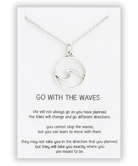 Designs By Karamarie Silvertone Wave Pendant Necklace Quote Card