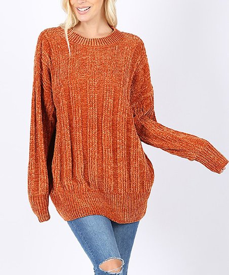 50752ade982 love this product Rust Oversize Cable-Knit Sweater - Women