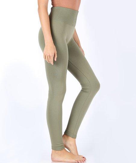 80b7e7f4856cd0 love this product Light Olive Tummy Control Fleece-Lined Leggings - Women