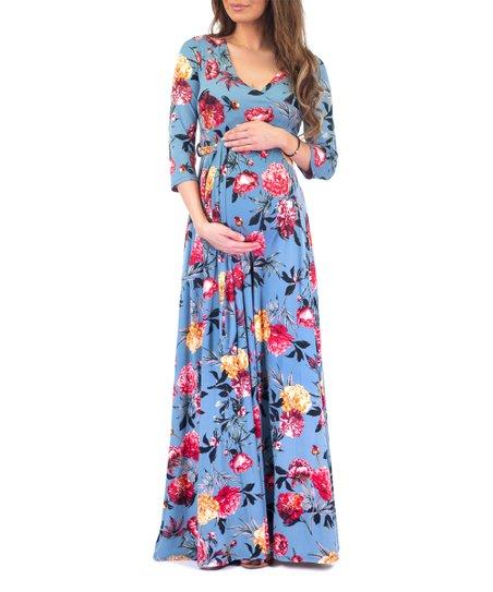 3c42e3f856aab Mother Bee Maternity Light Blue Floral Maternity Maxi Dress - Women ...