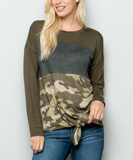 f7eceae9 love this product Olive Camo Color Block Tied-Hem Tee - Plus