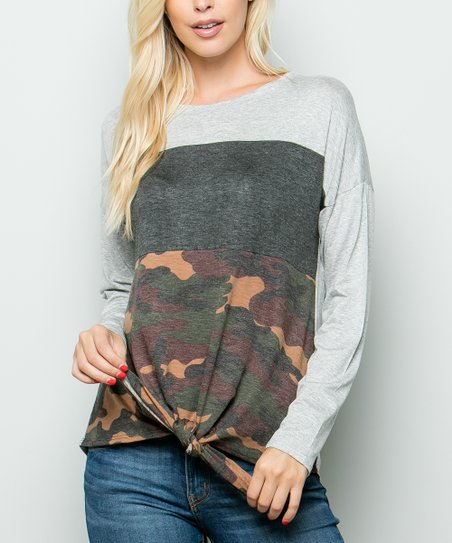 1a62944e Celeste Brown Camo Color Block Tied-Hem Tee - Women & Plus | Zulily