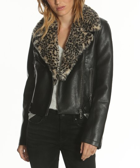 aa2297e3c9f9 Vigoss Black Faux Leopard Fur-Collar Moto Jacket - Women | Zulily