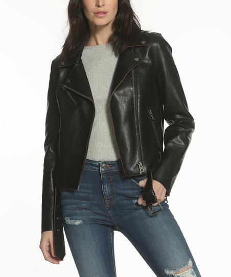 Vigoss Black Brown Vintage Style Faux Leather Moto Jacket Women